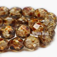3mm Faceted Round Firepolished Bead Transparent Glass with Picasso Finish