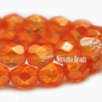 3mm Faceted Round Firepolished Bead Orange