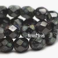 3mm Faceted Round Firepolished Bead Black with Picasso Finish
