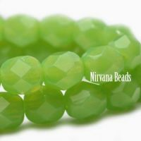 3mm Faceted Round Firepolished Bead Green Apple