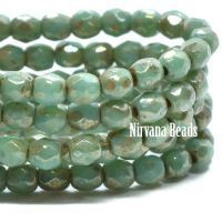 3mm Faceted Round Firepolished Bead Fern with Picasso Finish