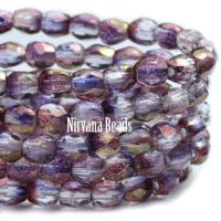 3mm Faceted Round Firepolished Bead Mulberry Mix with Luster Finish
