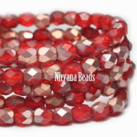 3mm Faceted Round Firepolished Bead Scarlet Red with Matte Copper Finish