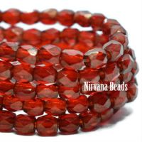 3mm Faceted Round Firepolished Bead Ruby Red with Gold Finish