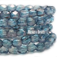 3mm Faceted Round Firepolished Bead Pale Blue with Luster Finish