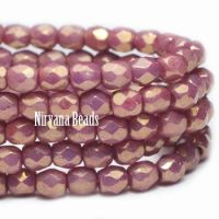 3mm Faceted Round Firepolished Bead Rosewood