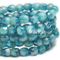 3mm Faceted Round Fire Polished Beads BE. Lagoon luster