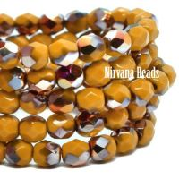 4mm Faceted Round Firepolished Bead Yellow Gold with Crimson-gold AB Finish