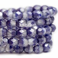 4mm Faceted Round Firepolished Bead Indigo with Transparent Glass