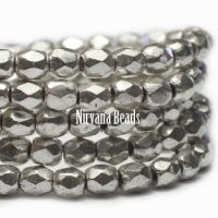 4mm Faceted Round Firepolished Bead Antique Silver
