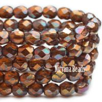 4mm Faceted Round Firepolished Bead Amber with Metallic Rust Finish