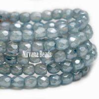 4mm Faceted Round Firepolished Bead Slate Blue