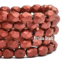4mm Faceted Round Firepolished Bead Metallic Burnt Umber with Etched and Red Lava Finish