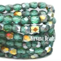 4mm Faceted Round Firepolished Bead Blue Green with Matte AB Finish