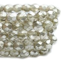 4mm Faceted Round Firepolished Bead Mercury