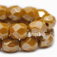 4mm Faceted Round Firepolished Bead Yellow Gold with Luster Finish.