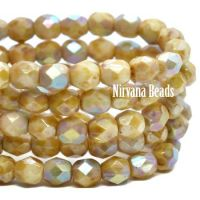 4mm Faceted Round Firepolished Bead Honey with AB Finish