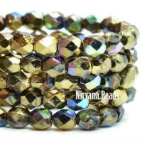 4mm Faceted Round Firepolished Bead Gold with An AB Finish