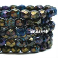 4mm Faceted Round Firepolished Bead Black with Metallic and Etched Finish and Turquoise Wash