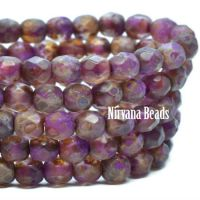 4mm Faceted Round Firepolished Bead Boysenberry with Etched and Picasso Finish