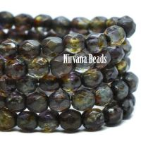 4mm Faceted Round Firepolished Bead Olive Green and Purple with a Picasso and Etched Finish