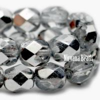 4mm Faceted Round Firepolished Bead Transparent Glass with Mirror Finish
