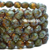 6mm Faceted Round Firepolished Bead Amber and Sea Green with a Picasso Finish