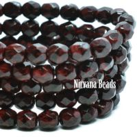 4mm Faceted Round Firepolished Bead Dark Red