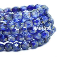 4mm Faceted Round Firepolished Bead Indigo with a Golden Luster