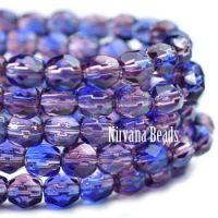4mm Faceted Round Firepolished Bead Mulberry and Sapphire