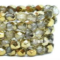 4mm Faceted Round Firepolished Bead Transparent with a Gold Finish
