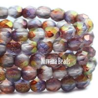 4mm Faceted Round Firepolished Bead Mulberry Mix with Luster Finish