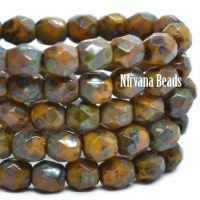 4mm Faceted Round Firepolished Bead Pumpkin with a Picasso Finish