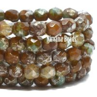 4mm Faceted Round Firepolished Bead Sea Green and Chocolate with a Picasso Finish