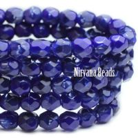 4mm Faceted Round Firepolished Bead Indigo