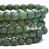 4mm Faceted Round Firepolished Bead Blue Green with Etched and Picasso Finish