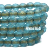 4mm Faceted Round Firepolished Bead Pacific Blue with Etched Finish and Gold Wash