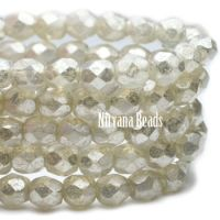4mm Faceted Round Firepolished Bead Opal with Mercury Finish