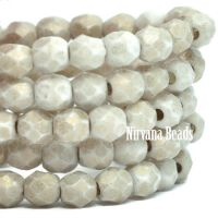 4mm Faceted Round Firepolished Bead Off White with Etched and Gold Finish