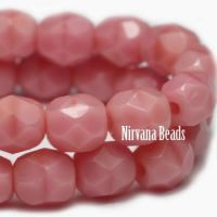 4mm Faceted Round Firepolished Bead Medium Pink