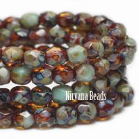 4mm Faceted Round Firepolished Bead Amber and Tea Green with Picasso Finish