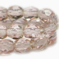 4mm Faceted Round Firepolished Bead Pink and Green