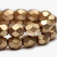 4mm Faceted Round Firepolished Bead Gold