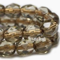4mm Faceted Round Firepolished Bead Transparent Brown Grey with Gold Lining