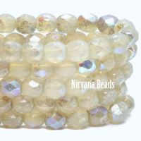4mm Faceted Round Firepolished Bead Ivory with AB and Mercury Finish