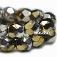 4mm Faceted Round Firepolished Bead Gold and Silver