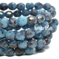4mm Faceted Round Firepolished Bead Medium Sky Blue with Hyacinth Finish