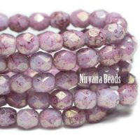 4mm Faceted Round Firepolished Bead Hyacinth