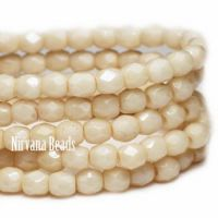 4mm Faceted Round Firepolished Bead Beige