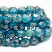 4mm Faceted Round Firepolished Bead Pacific Blue with Luster Finish